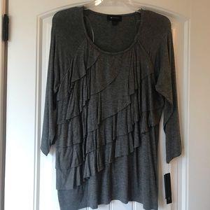 NWT Ruffle 3/4 sleeve top, grey
